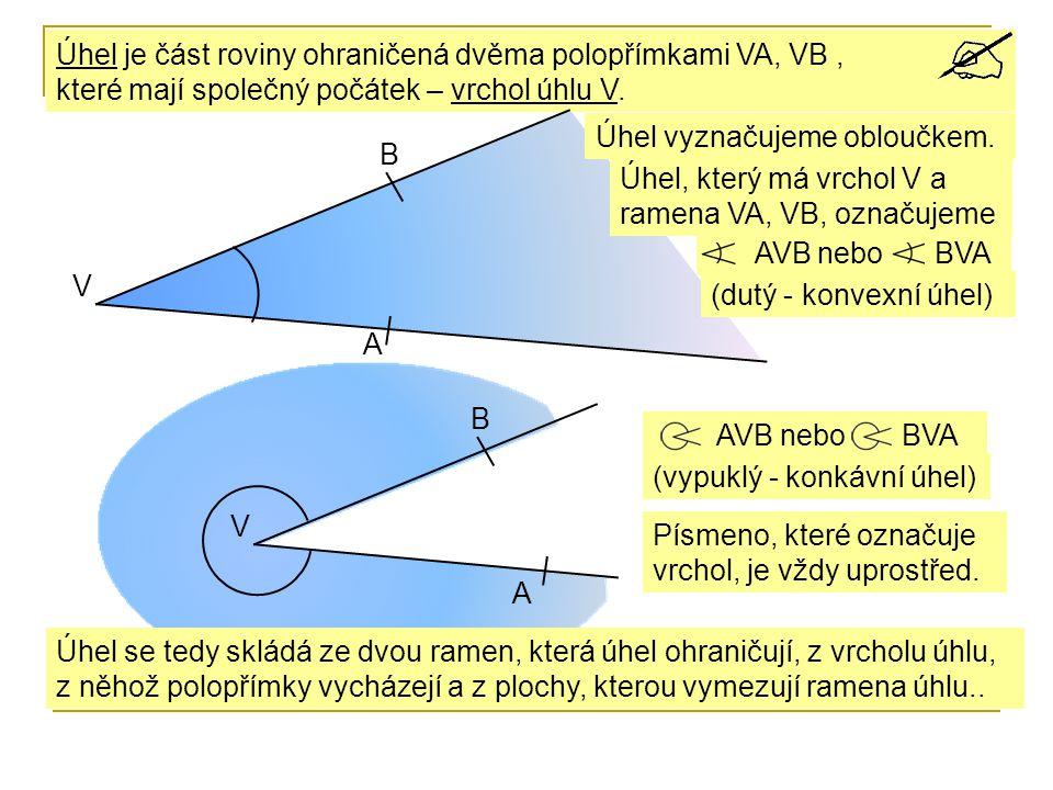 Úhel je část roviny ohraničená dvěma polopřímkami VA, VB , které mají společný počátek – vrchol úhlu V.