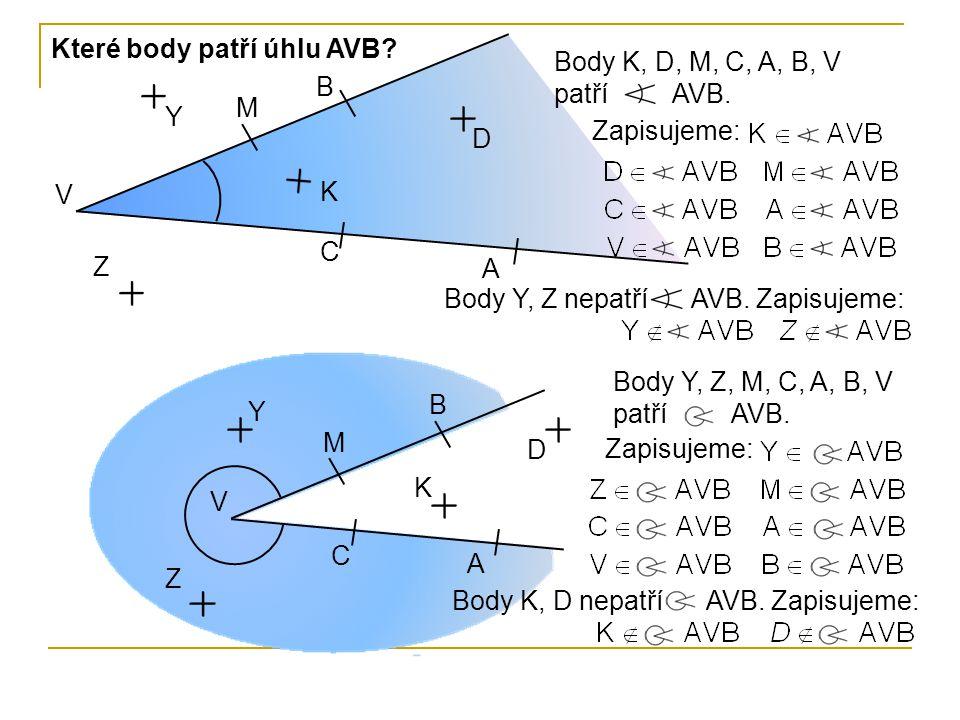 Které body patří úhlu AVB
