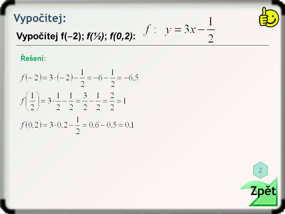 Vypočítej: Vypočítej f(‒2); f(½); f(0,2): Řešení: 2
