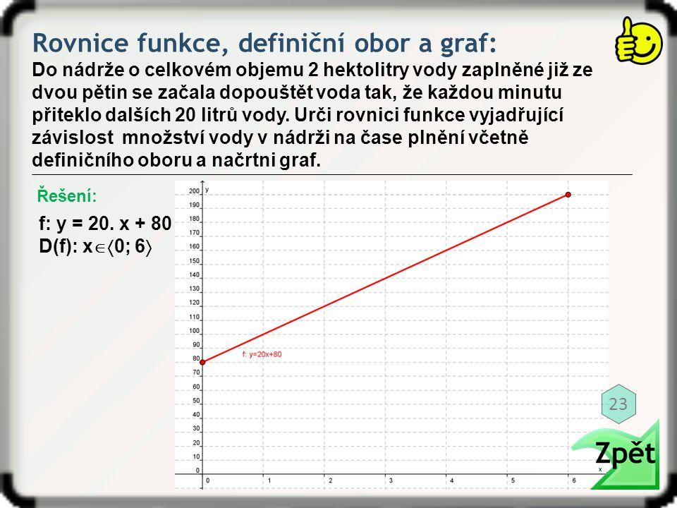 Rovnice funkce, definiční obor a graf: