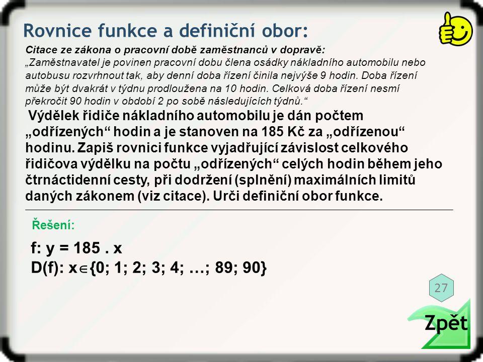 Rovnice funkce a definiční obor: