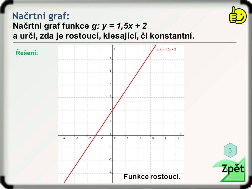 Načrtni graf: Načrtni graf funkce g: y = 1,5x + 2