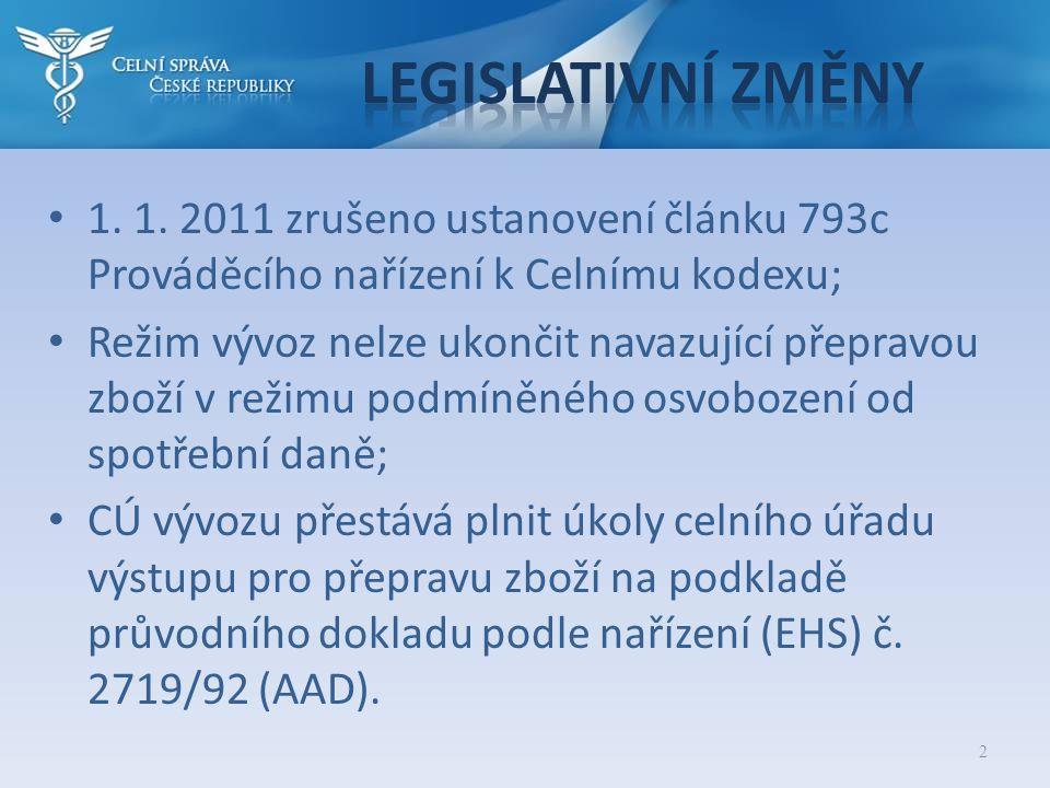 Legislativní změny 1. 1. 2011 zrušeno ustanovení článku 793c Prováděcího nařízení k Celnímu kodexu;