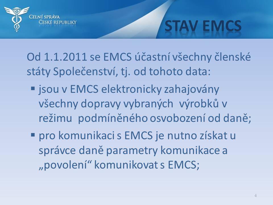 Stav EMCS Od 1.1.2011 se EMCS účastní všechny členské státy Společenství, tj. od tohoto data: