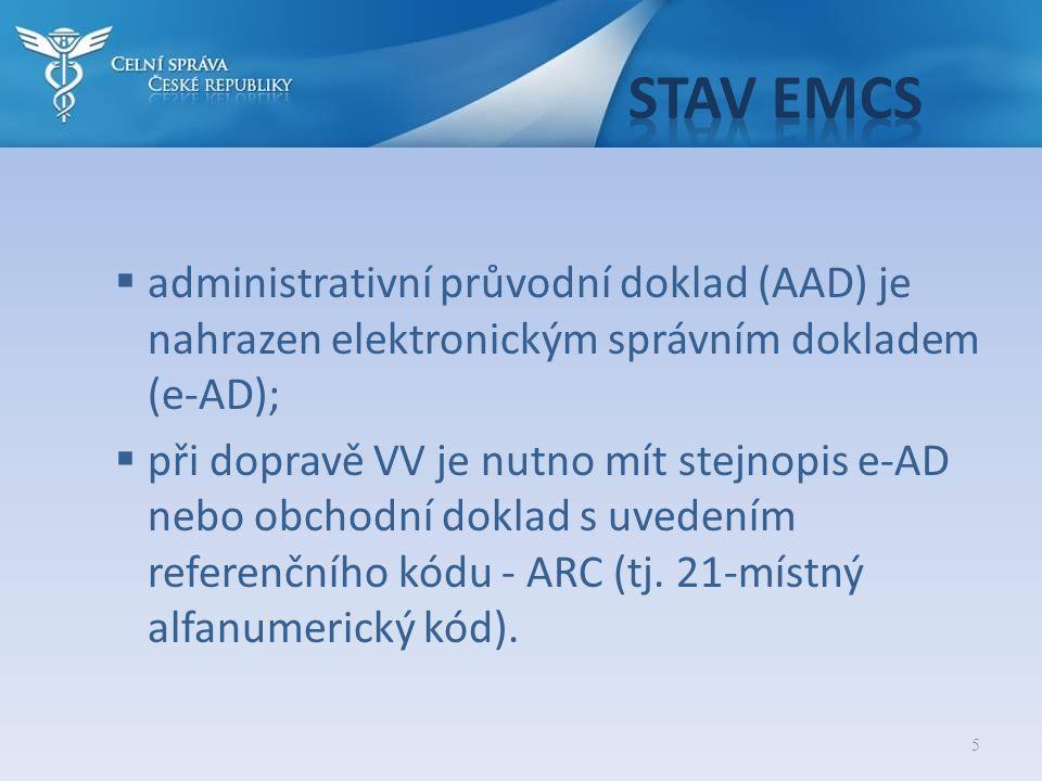 Stav EMCS administrativní průvodní doklad (AAD) je nahrazen elektronickým správním dokladem (e-AD);