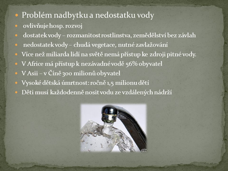 Problém nadbytku a nedostatku vody