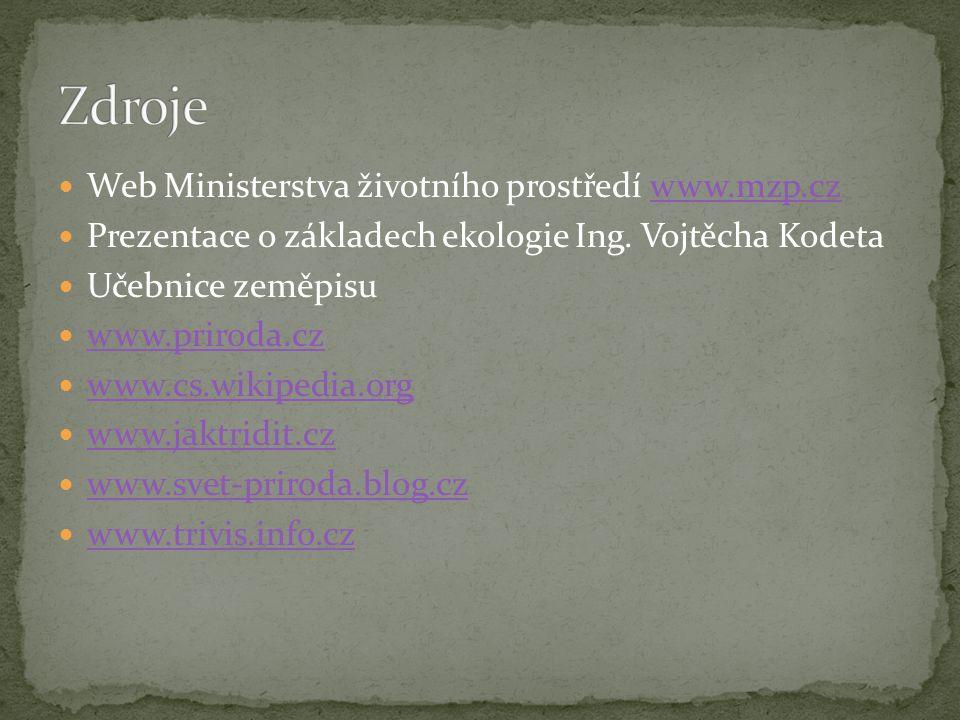 Zdroje Web Ministerstva životního prostředí www.mzp.cz