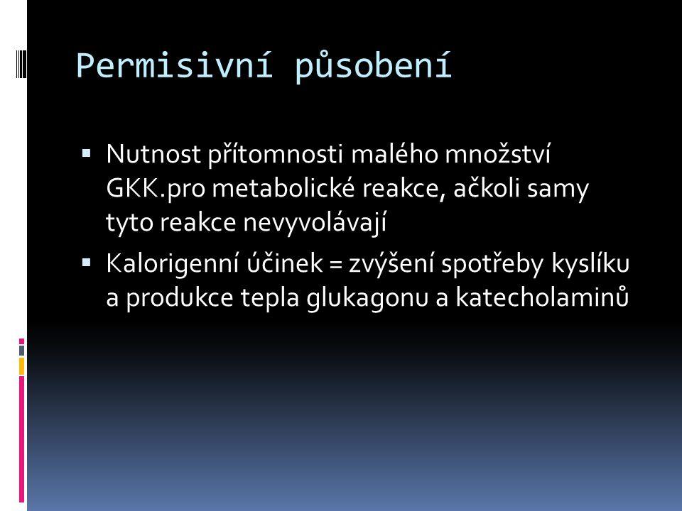 Permisivní působení Nutnost přítomnosti malého množství GKK.pro metabolické reakce, ačkoli samy tyto reakce nevyvolávají.
