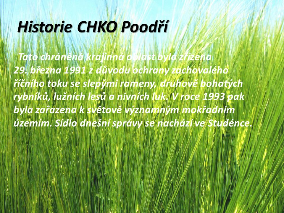 Historie CHKO Poodří