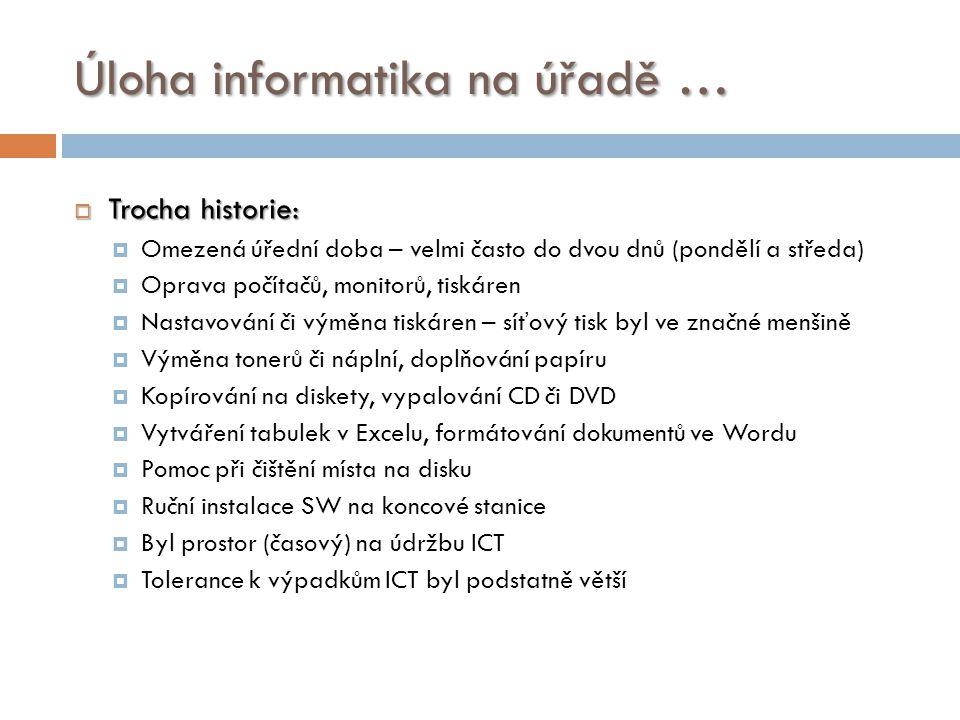 Úloha informatika na úřadě …