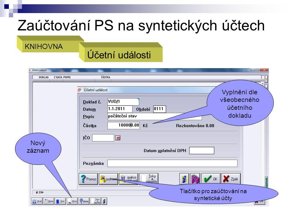 Zaúčtování PS na syntetických účtech
