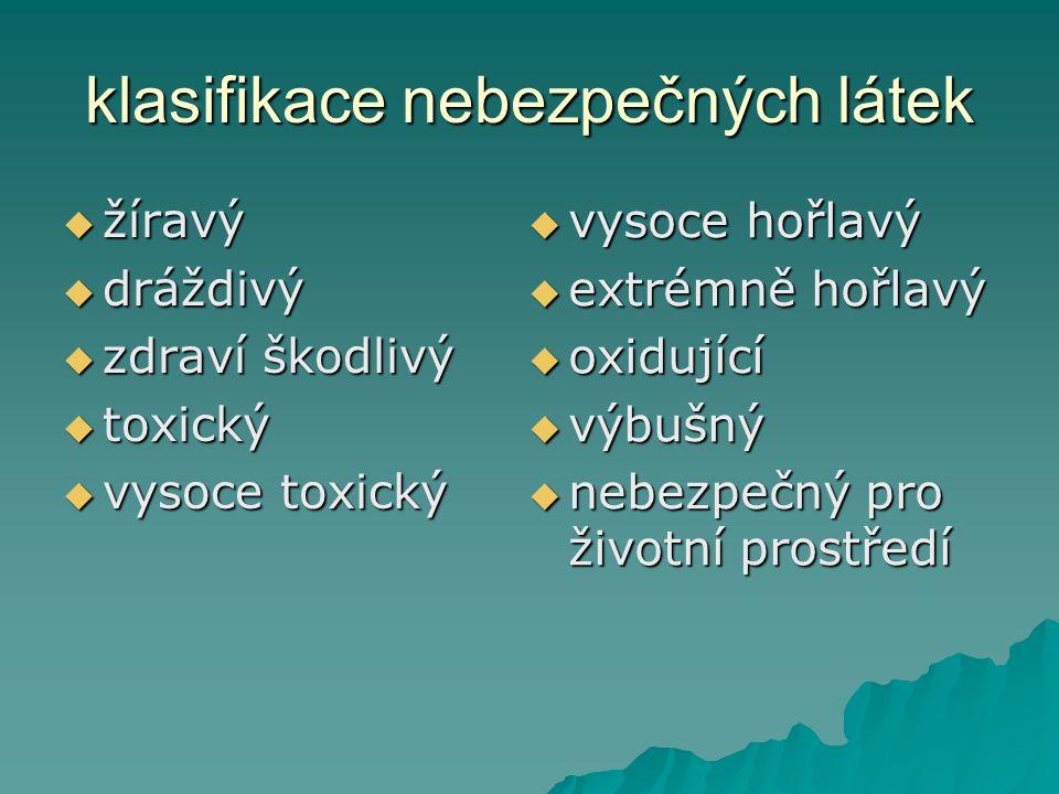 klasifikace nebezpečných látek