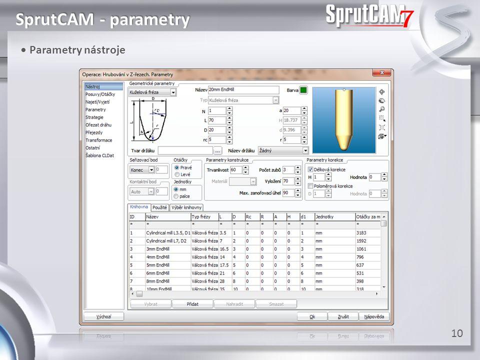 SprutCAM - parametry • Parametry nástroje 10