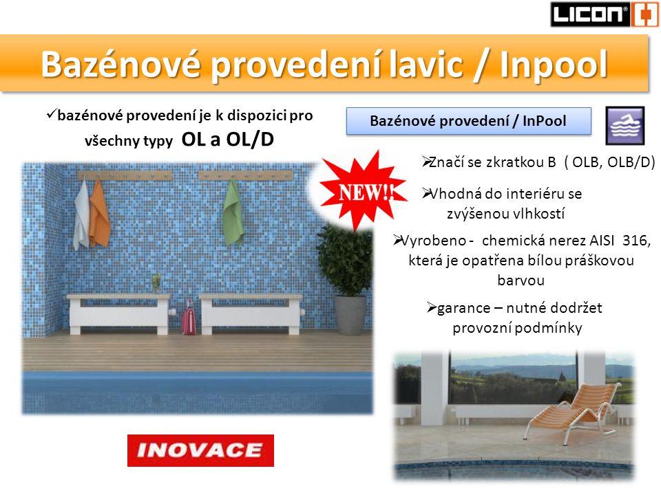 Bazénové provedení lavic / Inpool