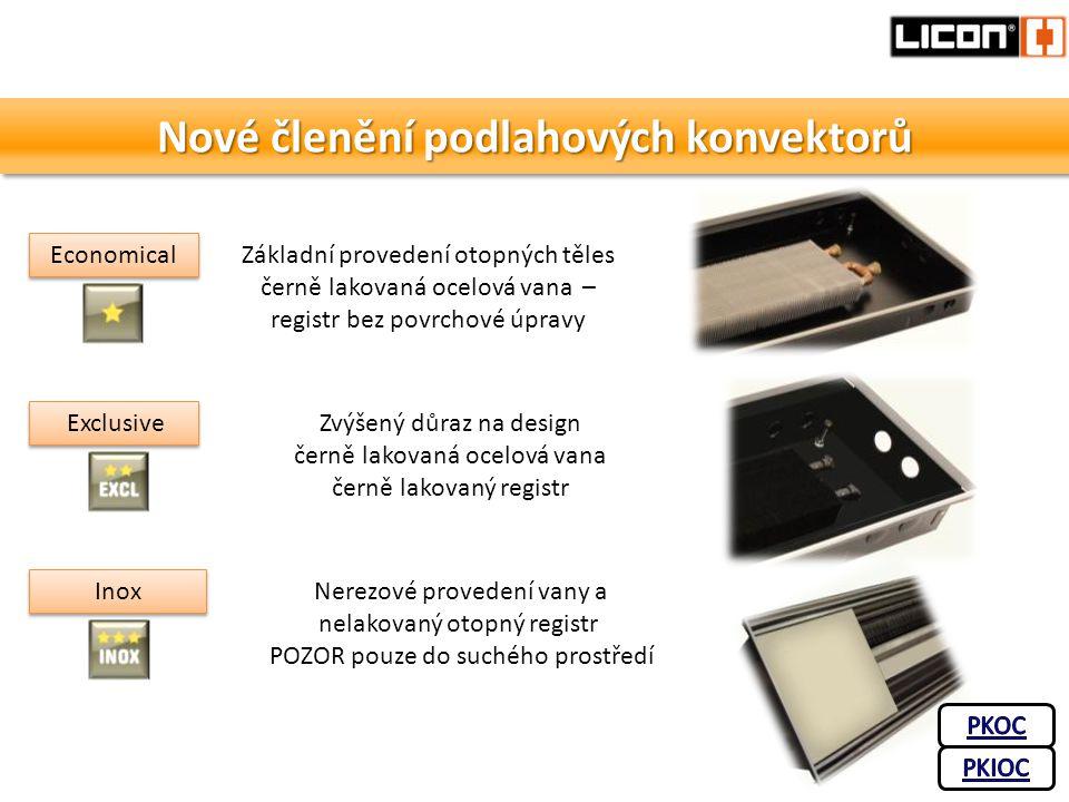 Nové členění podlahových konvektorů