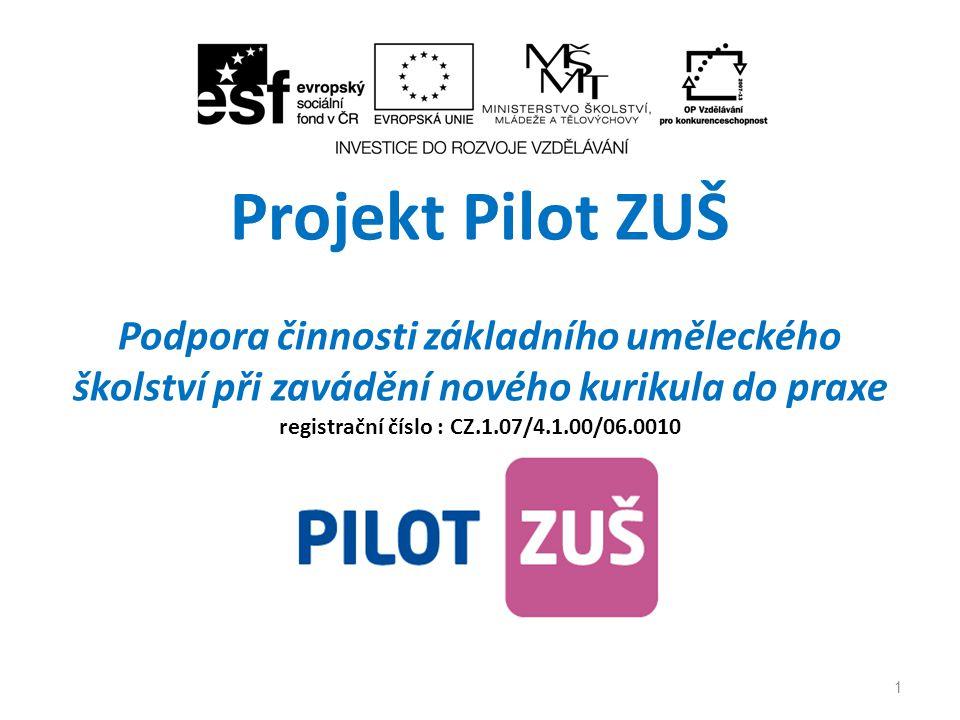 Projekt Pilot ZUŠ Podpora činnosti základního uměleckého školství při zavádění nového kurikula do praxe registrační číslo : CZ.1.07/4.1.00/06.0010