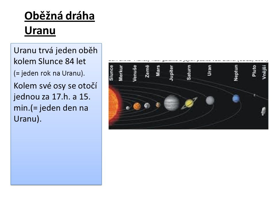 Oběžná dráha Uranu Uranu trvá jeden oběh kolem Slunce 84 let