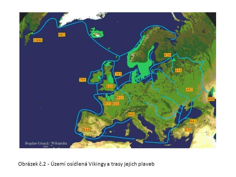 Obrázek č.2 - Území osídlená Vikingy a trasy jejich plaveb