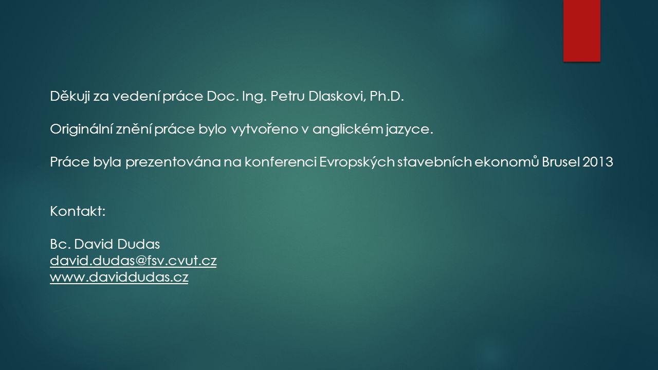 Děkuji za vedení práce Doc. Ing. Petru Dlaskovi, Ph.D.