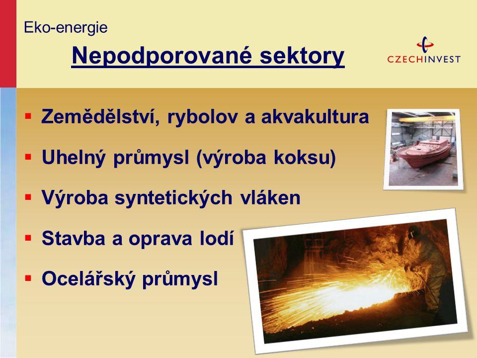 Eko-energie Nepodporované sektory