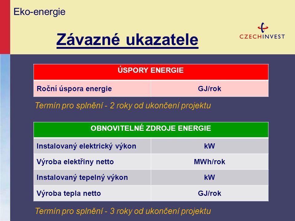 Eko-energie Závazné ukazatele