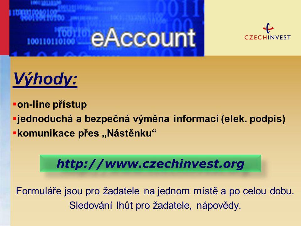 Výhody: http://www.czechinvest.org on-line přístup