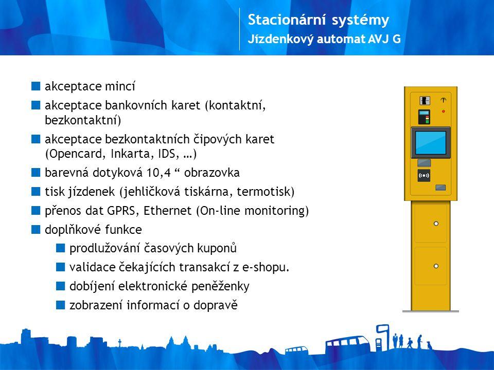 Stacionární systémy Jízdenkový automat AVJ G akceptace mincí
