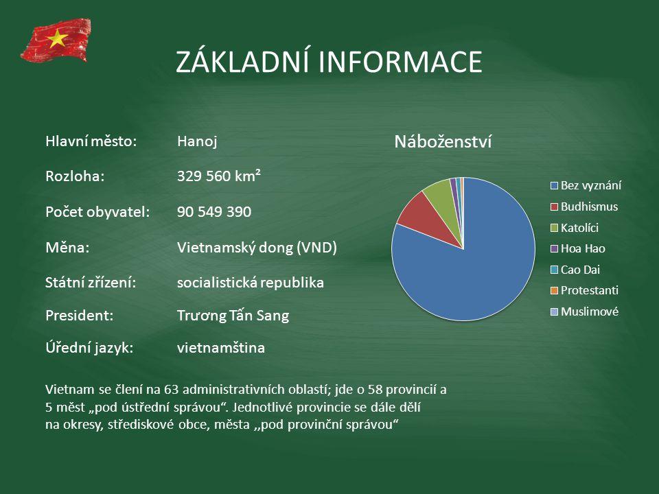 ZÁKLADNÍ INFORMACE Hlavní město: Hanoj Rozloha: 329 560 km²