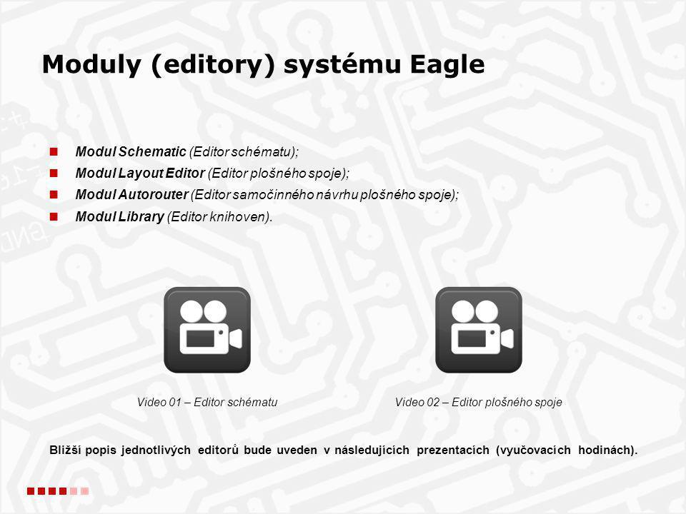 Moduly (editory) systému Eagle