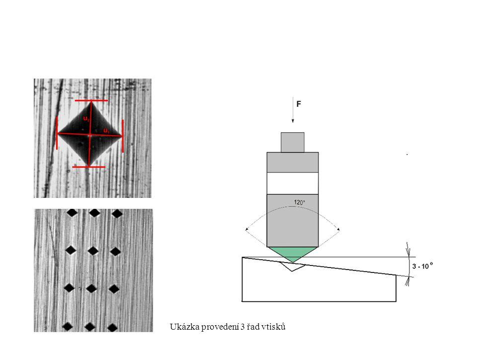 Ukázka provedení 3 řad vtisků
