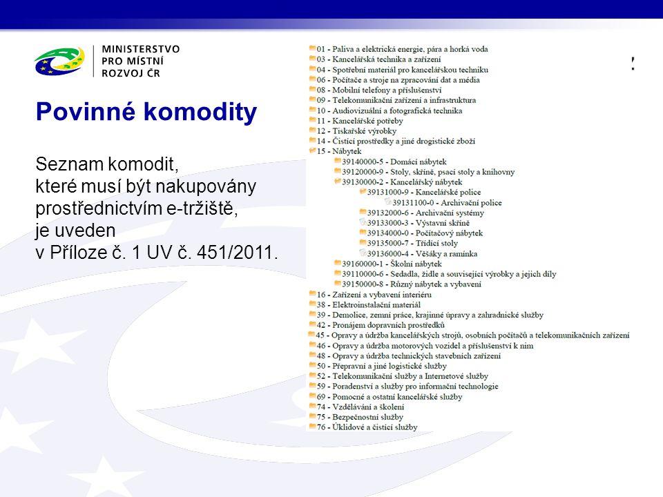 Povinné komodity Seznam komodit, které musí být nakupovány prostřednictvím e-tržiště, je uveden v Příloze č.