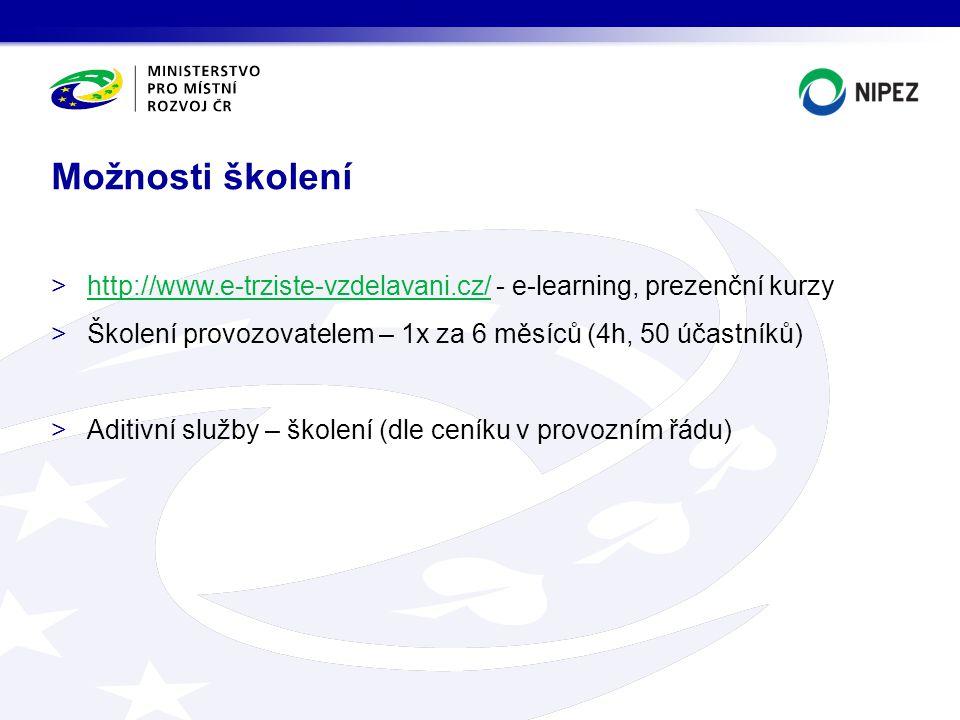 Možnosti školení http://www.e-trziste-vzdelavani.cz/ - e-learning, prezenční kurzy. Školení provozovatelem – 1x za 6 měsíců (4h, 50 účastníků)