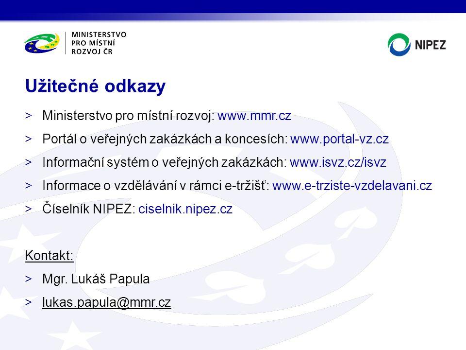 Užitečné odkazy Ministerstvo pro místní rozvoj: www.mmr.cz