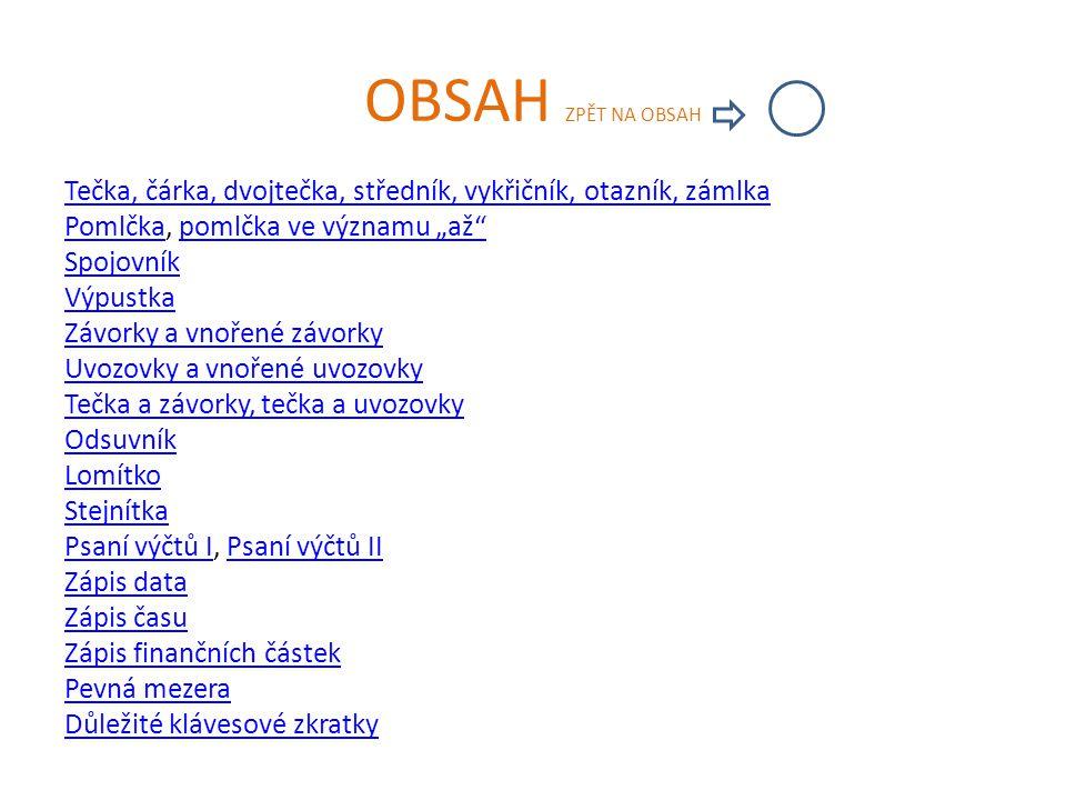 OBSAH ZPĚT NA OBSAH