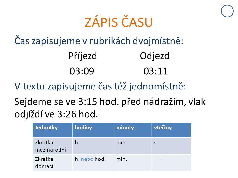 ZÁPIS ČASU