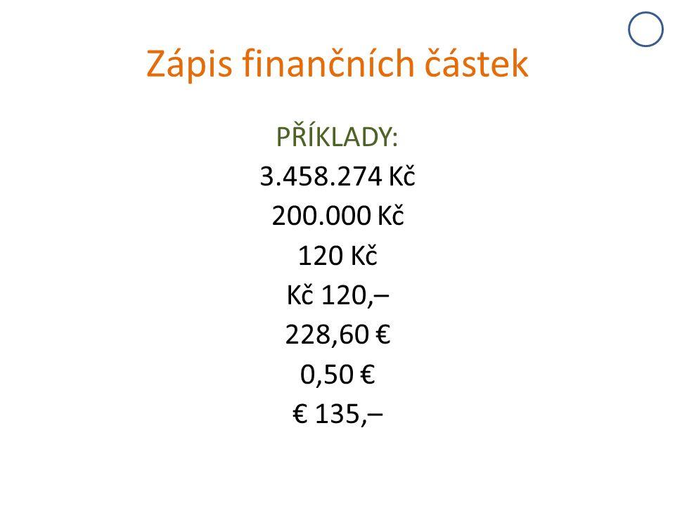Zápis finančních částek