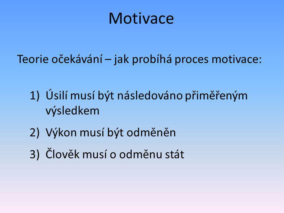 Motivace Teorie očekávání – jak probíhá proces motivace: