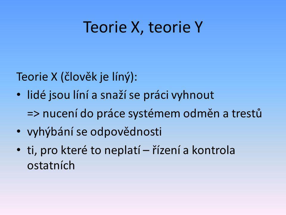 Teorie X, teorie Y Teorie X (člověk je líný):