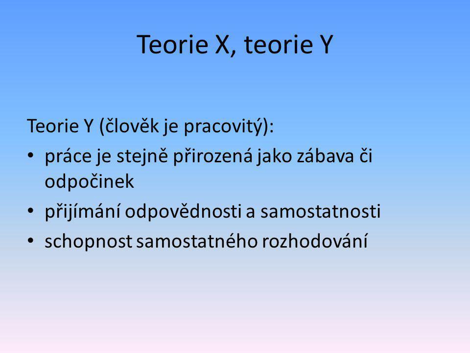 Teorie X, teorie Y Teorie Y (člověk je pracovitý):