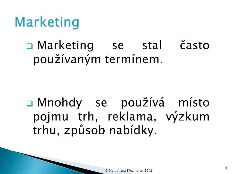 Marketing Marketing se stal často používaným termínem.