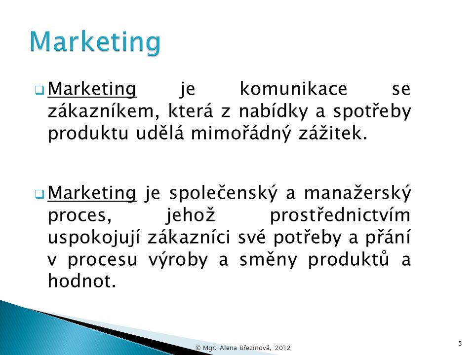 Marketing Marketing je komunikace se zákazníkem, která z nabídky a spotřeby produktu udělá mimořádný zážitek.