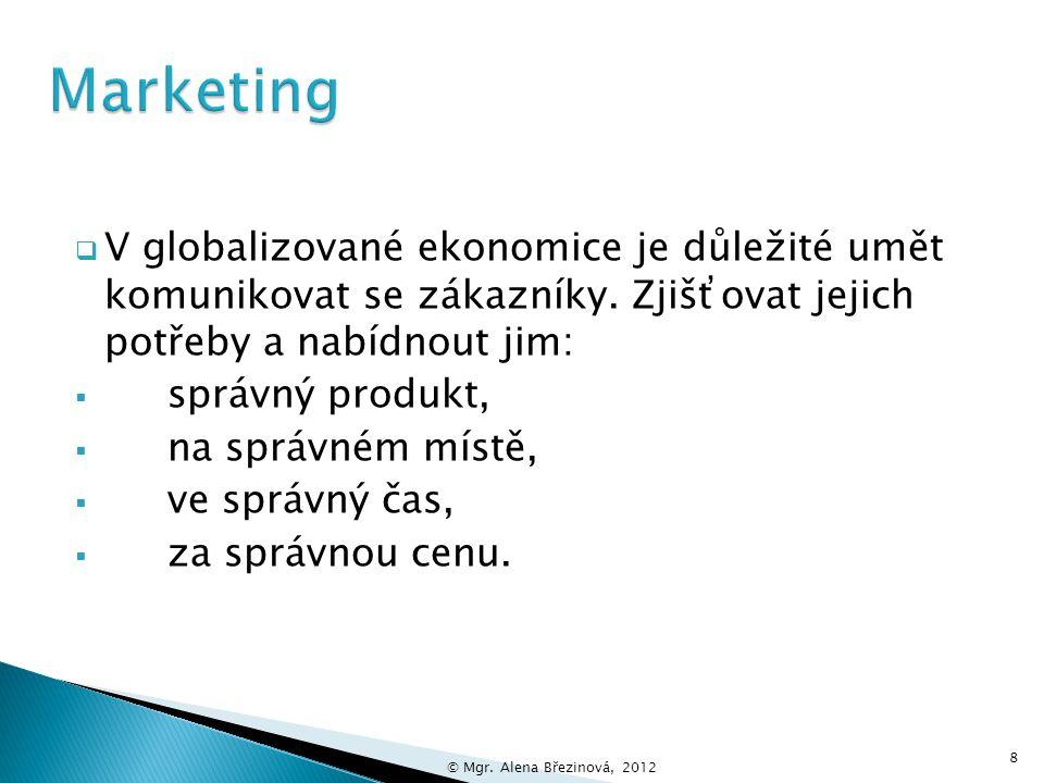 Marketing V globalizované ekonomice je důležité umět komunikovat se zákazníky. Zjišťovat jejich potřeby a nabídnout jim: