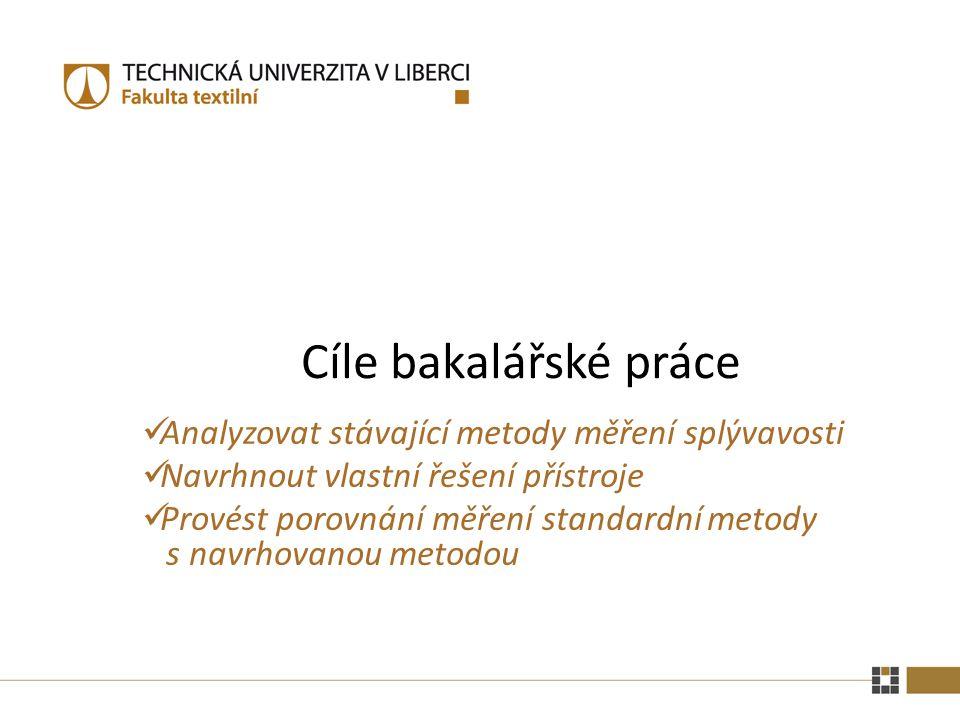 Cíle bakalářské práce Analyzovat stávající metody měření splývavosti