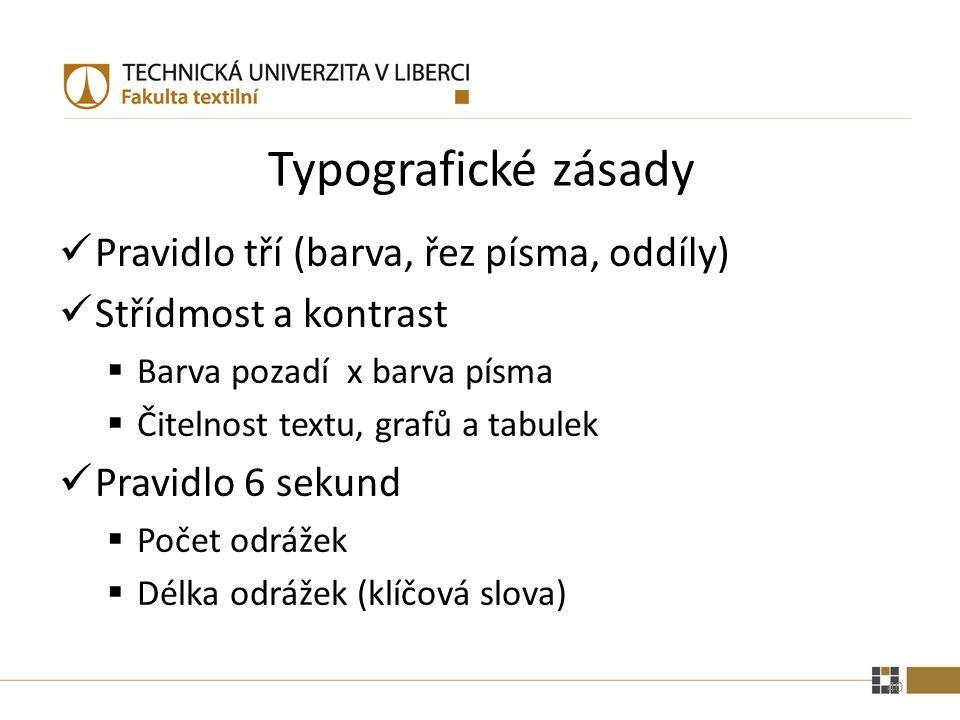 Typografické zásady Pravidlo tří (barva, řez písma, oddíly)