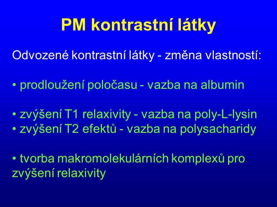 PM kontrastní látky Odvozené kontrastní látky - změna vlastností: