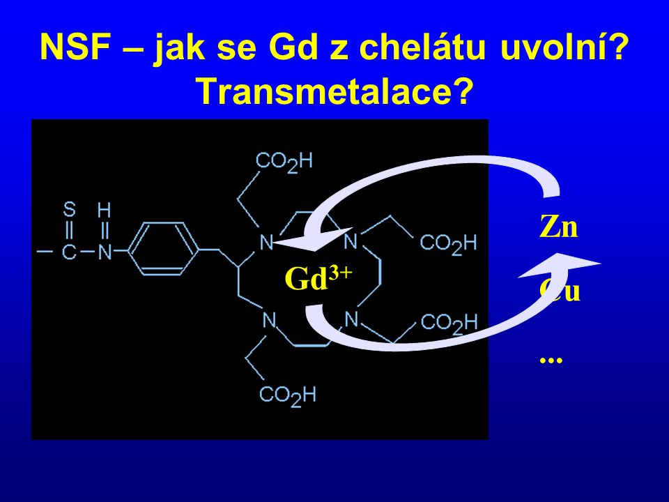 NSF – jak se Gd z chelátu uvolní Transmetalace