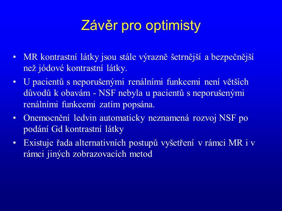 Závěr pro optimisty MR kontrastní látky jsou stále výrazně šetrnější a bezpečnější než jódové kontrastní látky.
