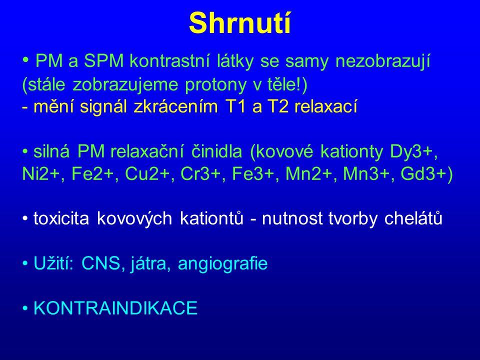 Shrnutí PM a SPM kontrastní látky se samy nezobrazují (stále zobrazujeme protony v těle!) - mění signál zkrácením T1 a T2 relaxací.