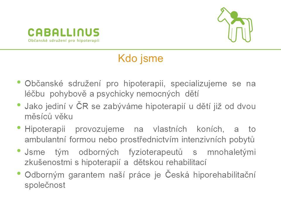 Kdo jsme Občanské sdružení pro hipoterapii, specializujeme se na léčbu pohybově a psychicky nemocných dětí.