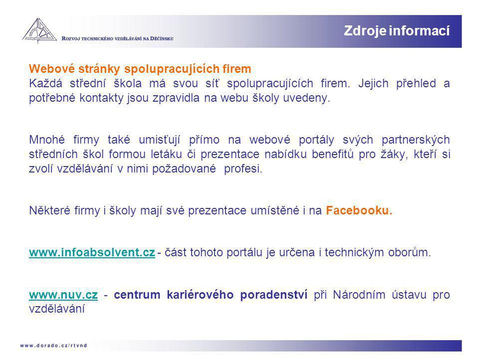 Zdroje informací Webové stránky spolupracujících firem